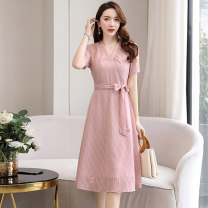 Dress Summer 2020 Black apricot skin pink M L XL XXL Mid length dress singleton  Short sleeve commute V-neck middle-waisted Solid color Socket A-line skirt routine Others 25-29 years old Type A Meng Jia Xian Yi Simplicity Pleated lace MJQY20X-0420-09 More than 95% Chiffon polyester fiber