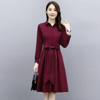 Dress / evening wear Weddings, adulthood parties, company annual meetings, daily appointments M L XL XXL XXXL fashion Medium length middle-waisted Autumn 2020 A-line skirt Bandage 26-35 years old Long sleeves Solid color Meng Jia Xian Yi routine Polyester 100% Exclusive payment of tmall