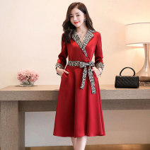 Dress / evening wear Weddings, adulthood parties, company annual meetings, daily appointments M L XL XXL Black gold card, jujube red Korean version Medium length middle-waisted Autumn 2020 A-line skirt U-neck 26-35 years old MJQY20X-0812-08 Long sleeves Solid color Meng Jia Xian Yi routine