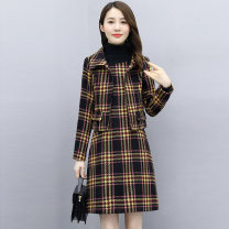 Dress Autumn 2020 Red and grey M L XL XXL XXXL Mid length dress Two piece set Long sleeves commute Crew neck middle-waisted lattice Socket A-line skirt routine Others 25-29 years old Type A Meng Jia Xian Yi Retro Pleated fold MJQY20X-0904-06 More than 95% polyester fiber Polyester 100%