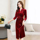 Dress / evening wear Weddings, adulthood parties, company annual meetings, daily appointments M L XL XXL Black Burgundy Navy fashion Medium length middle-waisted Spring 2021 A-line skirt Deep collar V Bandage 36 and above MJQY21X-0226-08 Long sleeves Solid color Meng Jia Xian Yi routine