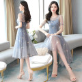Dress / evening wear Weddings, adulthood parties, company annual meetings, daily appointments M L XL XXL XXXL grace Medium length middle-waisted Summer 2020 A-line skirt U-neck zipper 18-25 years old Short sleeve Solid color Meng Jia Xian Yi routine Polyester 100% Exclusive payment of tmall