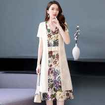 Dress Summer 2020 Black flower white flower green flower M L XL XXL Mid length dress Two piece set Short sleeve commute V-neck middle-waisted Decor Socket A-line skirt routine Others 35-39 years old Type A Meng Jia Xian Yi lady Pleated printing MJQY20X-0604-09 More than 95% Chiffon polyester fiber