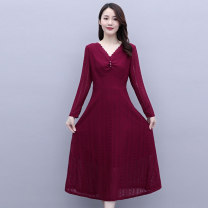Dress / evening wear Weddings, adulthood parties, company annual meetings, daily appointments M L XL XXL Black red Korean version Medium length middle-waisted Autumn 2020 Self cultivation Long sleeves Solid color Meng Jia Xian Yi routine Polyester 100% Pure e-commerce (online only)