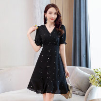 Dress Summer 2021 black S M L XL XXL Mid length dress singleton  Short sleeve commute V-neck middle-waisted Dot Socket A-line skirt routine 25-29 years old Type A Meng Jia Xian Yi lady Pleated fold MJQY21X-0317-09 More than 95% Chiffon polyester fiber Polyester 100% Pure e-commerce (online only)