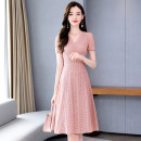 Dress Summer 2020 Green, black, pink M L XL XXL XXXL Mid length dress singleton  Short sleeve commute V-neck middle-waisted Solid color Socket A-line skirt routine Others 25-29 years old Type A Meng Jia Xian Yi lady Zipper lace MJQY20X-0603-07 More than 95% Lace polyester fiber Polyester 100%