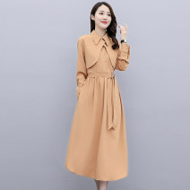 Dress Autumn 2020 Black army green pink M L XL XXL Mid length dress singleton  Long sleeves commute Polo collar middle-waisted Solid color Socket A-line skirt routine Others 25-29 years old Type A Meng Jia Xian Yi literature Pleated lace MJQY20X-0902-03 More than 95% polyester fiber Polyester 100%
