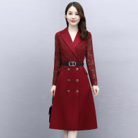 Dress / evening wear Weddings, adulthood parties, company annual meetings, daily appointments M L XL XXL XXXL Red and black fashion Medium length middle-waisted Autumn 2020 A-line skirt Deep collar V Bandage 26-35 years old MJQY20X-0821-08 Long sleeves Solid color Meng Jia Xian Yi routine