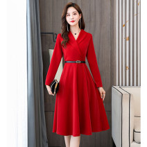 Dress / evening wear Weddings, adulthood parties, company annual meetings, daily appointments M L XL XXL Black red green fashion Medium length middle-waisted Spring 2021 A-line skirt Deep collar V Bandage Long sleeves Solid color Meng Jia Xian Yi routine Polyester 100% Pure e-commerce (online only)