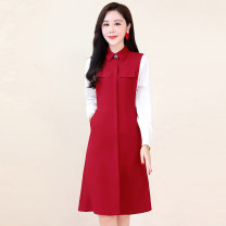 Dress / evening wear Weddings, adulthood parties, company annual meetings, daily appointments M L XL XXL XXXL Navy and jujube Korean version Medium length middle-waisted Autumn 2020 A-line skirt MJQY20X-0824-11 Long sleeves Solid color Meng Jia Xian Yi routine Polyester 100%