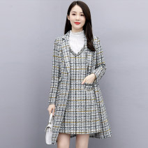 Dress Winter 2020 Pink check [3-piece shirt set] black check [3-piece shirt set] green check [3-piece shirt set] pink check [2-piece shirt set] black check [2-piece shirt set] green check [2-piece shirt set] M L XL XXL Mid length dress Two piece set Long sleeves commute tailored collar middle-waisted