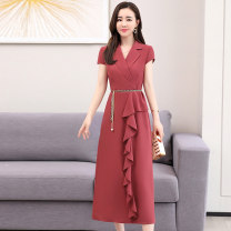 Dress Summer 2020 Brick saffron M L XL XXL Mid length dress singleton  Short sleeve commute tailored collar middle-waisted Solid color Socket A-line skirt routine Others 30-34 years old Type A Meng Jia Xian Yi lady More than 95% Chiffon polyester fiber Polyester 100% Exclusive payment of tmall