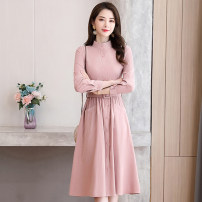 Dress Autumn 2020 M L XL XXL Mid length dress singleton  Long sleeves commute middle-waisted Solid color Single breasted Big swing routine 30-34 years old Meng Jia Xian Yi Korean version Pocket button 3D More than 95% polyester fiber Polyester 100% Pure e-commerce (online only)