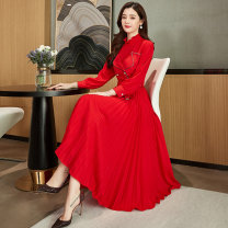 Dress / evening wear Weddings, adulthood parties, company annual meetings, daily appointments M L XL XXL Big red black Korean version Medium length middle-waisted Spring 2020 Pleats stand collar zipper 26-35 years old Long sleeves Solid color Meng Jia Xian Yi routine Polyester 100%