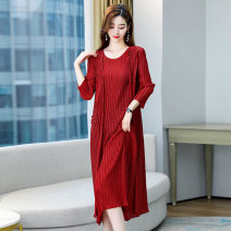 Dress / evening wear Weddings, adulthood parties, company annual meetings, daily appointments Average size Red and black fashion Medium length middle-waisted Summer 2021 other U-neck 36 and above MJQY21X-0317-12 three quarter sleeve Solid color Meng Jia Xian Yi Polyester 100%