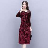 Dress / evening wear Weddings, adulthood parties, company annual meetings, daily appointments M L XL XXL Jujube Navy Intellectuality Medium length middle-waisted Autumn 2020 A-line skirt U-neck 36 and above Long sleeves Nail bead Solid color Meng Jia Xian Yi routine Polyester 100% Pearl