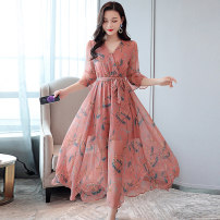 Dress Summer 2020 Black bean paste Beige M L XL XXL Mid length dress singleton  Short sleeve commute V-neck middle-waisted Decor Socket Big swing Lotus leaf sleeve Others 25-29 years old Type A Meng Jia Xian Yi Korean version Lace up zipper print MJQY20X-0418-12 More than 95% Chiffon polyester fiber