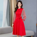 Dress / evening wear Weddings, adulthood parties, company annual meetings, daily appointments M L XL XXL Red and black Korean version Medium length middle-waisted Autumn 2020 A-line skirt U-neck Bandage 26-35 years old MJQY20X-0731-10 Long sleeves Solid color Meng Jia Xian Yi Bat sleeve