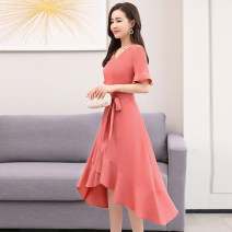 Dress Summer 2020 Red Lake orchid in snow mountain M L XL XXL Mid length dress singleton  Short sleeve commute V-neck middle-waisted Solid color Socket Irregular skirt pagoda sleeve Others 30-34 years old Type A Meng Jia Xian Yi Simplicity Pleated pleated zipper MJQY20X-0520-05 More than 95% Chiffon