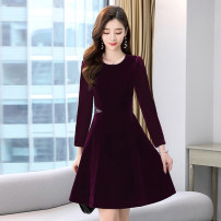 Dress / evening wear Weddings, adulthood parties, company annual meetings, daily appointments M L XL XXL XXXL Black Purple Simplicity Medium length middle-waisted Winter 2020 A-line skirt U-neck zipper MJQY20X - one thousand two hundred and twenty-six - 05 Long sleeves Solid color Meng Jia Xian Yi