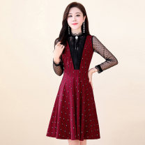 Dress / evening wear Weddings, adulthood parties, company annual meetings, daily appointments M L XL XXL XXXL Black jujube Korean version Medium length middle-waisted Summer 2020 Self cultivation MJQY20X-0725-05 Long sleeves Solid color Meng Jia Xian Yi routine Polyester 100%