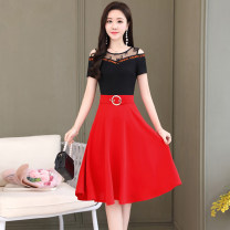 Dress Summer 2020 Red Black Royal Blue M L XL XXL XXXL Mid length dress Fake two pieces Short sleeve commute Crew neck middle-waisted Solid color Socket A-line skirt routine Others 25-29 years old Type A Meng Jia Xian Yi lady Pleated stitching MJQY20X-0414-010 More than 95% Chiffon polyester fiber