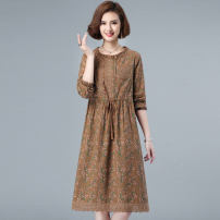 Dress Spring 2021 Khaki Green Brown M L XL XXL Mid length dress singleton  Long sleeves commute Crew neck High waist Broken flowers Socket A-line skirt routine Others 25-29 years old Type A Meng Jia Xian Yi Retro Pleated lace MJQY21X-0306-11 More than 95% other polyester fiber Polyester 100%