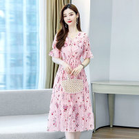 Dress Summer 2021 White pink M L XL XXL Middle-skirt singleton  Short sleeve commute V-neck middle-waisted Decor Big swing Lotus leaf sleeve Others 25-29 years old Type X Meng Jia Xian Yi lady Ruffle print MJQY21X-0317-04 More than 95% Chiffon polyester fiber Polyester 100%