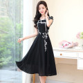 Dress Summer 2020 Black and white M L XL XXL XXXL Mid length dress singleton  Short sleeve commute Crew neck middle-waisted stripe Socket A-line skirt routine Others 25-29 years old Type A Meng Jia Xian Yi lady Lace up print More than 95% Chiffon polyester fiber Polyester 100%