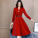 Dress / evening wear Weddings, adulthood parties, company annual meetings, daily appointments M L XL XXL Red and black fashion Medium length middle-waisted Winter of 2019 A-line skirt Long sleeves Solid color Meng Jia Xian Yi routine Polyester 100% Pure e-commerce (online only)