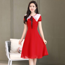 Dress / evening wear Weddings, adulthood parties, company annual meetings, daily appointments M L XL XXL XXXL Red Navy Sweet Medium length middle-waisted Summer 2020 Self cultivation U-neck zipper 18-25 years old MJQY20X-0414-02 Short sleeve Solid color Meng Jia Xian Yi routine Polyester 100%