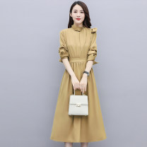Dress Autumn 2020 M L XL XXL Mid length dress singleton  Long sleeves commute stand collar middle-waisted Solid color Socket A-line skirt routine Others 25-29 years old Type A Meng Jia Xian Yi Korean version Pleated lace More than 95% polyester fiber Polyester 100% Exclusive payment of tmall
