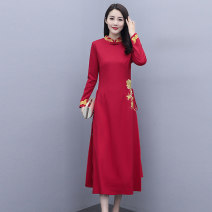Dress / evening wear Weddings, adulthood parties, company annual meetings, daily appointments M L XL XXL XXXL Red and black Retro longuette middle-waisted Spring 2021 A-line skirt Long sleeves Solid color Meng Jia Xian Yi routine Polyester 100% Pure e-commerce (online only)