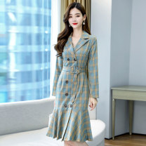 Dress Autumn 2020 Picture color S M L XL XXL XXXL Mid length dress singleton  Long sleeves commute tailored collar middle-waisted lattice double-breasted A-line skirt routine 25-29 years old Meng Jia Xian Yi Korean version Lace up button More than 95% polyester fiber Polyester 100%