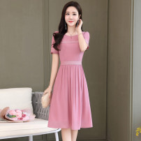 Dress Mori More than 95% polyester fiber Chiffon Polyester 100% Summer 2020 Medium length skirt Meng Jia Xian Yi singleton  Short sleeve Sweet Pure e-commerce (online sales only) Crew neck middle-waisted Condom Solid color A-line skirt routine 25-29 years old Other MJQY20X-0414-09 Type A