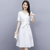 Dress Summer 2021 Blue milky white S M L XL XXL XXXL Mid length dress singleton  Short sleeve commute V-neck middle-waisted Solid color Socket A-line skirt routine 25-29 years old Type X Meng Jia Xian Yi lady Pleated button MJQY21X-0324-05 More than 95% other polyester fiber Polyester 100%