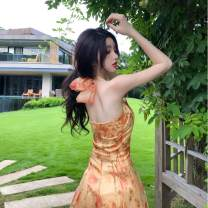 Dress Summer 2020 Oil painting skirt S,M,L Mid length dress singleton  Sleeveless commute One word collar High waist Decor Socket A-line skirt Hanging neck style 25-29 years old Type A Korean version Open back, lace up, print HD846 71% (inclusive) - 80% (inclusive) organza  other