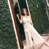 Casual pants white S,M,L,XL Summer of 2019 Ninth pants Jumpsuit High waist Sweet Thin money 18-24 years old Other / other Lace stitching Bohemia