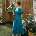 Dress Summer 2020 blue S,M,L,XL Mid length dress singleton  Short sleeve commute square neck middle-waisted Solid color Socket Big swing puff sleeve Others 18-24 years old Type A Retro HD102 31% (inclusive) - 50% (inclusive) other