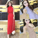 Dress Summer of 2018 White, red, khaki, light gray, black Average size longuette singleton  Sleeveless Sweet Half high collar High waist Solid color Socket other other Hanging neck style 18-24 years old Type H zipper Chiffon