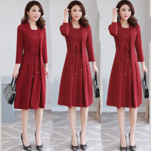 Middle aged and old women's wear Spring 2021, summer 2021, autumn 2021 M,L,XL,2XL,3XL,4XL,5XL commute Dress Fake two pieces 40-49 years old Socket moderate Medium length routine cotton Medium length Korean version