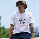 T-shirt Youth fashion White, black routine Chinese Classics Short sleeve Crew neck easy Other leisure summer Cotton 100% Large size routine tide Cotton wool 2017 Plants and flowers printing cotton Plants and flowers No iron treatment Fashion brand More than 95%