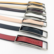 Belt / belt / chain Double skin leather female belt Versatile Single loop Youth, youth, middle age Smooth button Glossy surface soft surface 1cm alloy alone