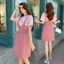 Nursing clothes Rose pink, orange M,L,XL,2XL Socket summer Short sleeve Medium length Korean version Dress Solid color Lift up