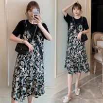 Nursing clothes Decor M,L,XL,2XL Socket summer Short sleeve Medium length leisure time Dress Decor