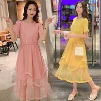 Nursing clothes Pink, yellow M,L,XL,2XL Socket summer Short sleeve Medium length leisure time Dress Solid color