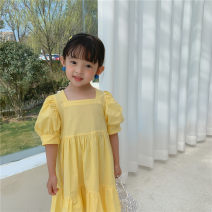 Dress Yellow, blue female Other / other 80cm,90cm,100cm,110cm,120cm,130cm Cotton 95% other 5% summer Korean version Short sleeve Solid color cotton A-line skirt 15_ mk_ Pure cotton skirt with bubble sleeves Class B Chinese Mainland Zhejiang Province Huzhou City