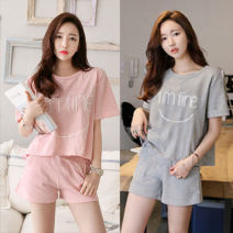 Pajamas / housewear set female Other / other M suggests less than 100 kg, l suggests 100-110 kg, XL suggests 110-120 kg, XXL suggests 120-140 kg nylon Short sleeve Cartoon Leisure home summer routine Crew neck shorts Socket 2 pieces rubber string 81% (inclusive) - 95% (inclusive) printing