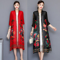 short coat Summer of 2019 XL,2XL,3XL,4XL,5XL Red, black three quarter sleeve Medium length Thin money singleton  easy commute routine V-neck Plants and flowers 40-49 years old 91% (inclusive) - 95% (inclusive) National style of embroidery Komin ethnic style