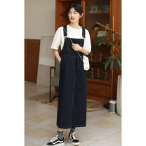 Dress Spring 2020 blue S,M,L Mid length dress singleton  Sleeveless commute square neck Loose waist Solid color Socket One pace skirt routine straps 18-24 years old Type H Korean version Pockets, straps, buttons LQ260 31% (inclusive) - 50% (inclusive) Denim cotton